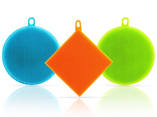 Silicone Kitchen Sponge Multipurpose Dual Sided Antibacterial Non Stick Dish Scrubber Complete with 3 Drying Hooks