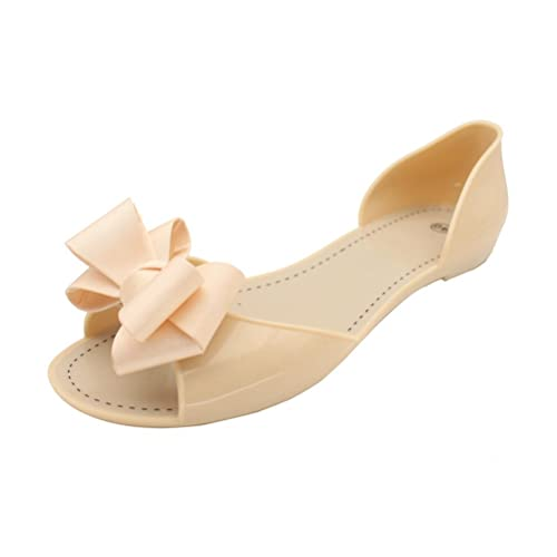 241efd75cb Omgard Women Jelly Shoes Sandal for Summer Beach Clear Jellies Flat Slip On  with Ribbon Bow Thong Peep Toe Soft