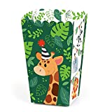 Big Dot of Happiness Jungle Party Animals - Safari Zoo Animal Birthday Party or Baby Shower Favor Popcorn Treat Boxes - Set of 12