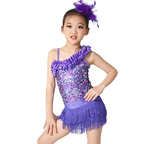 [MiDee Asymmetrical Shoulder Sequins Outfits Dance Costume Latin Dress (SC, Purple)] (Dance Costumes Kids Jazz)