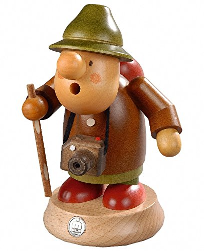 German incense smoker Muellerchen Tourist, height 16 cm / 6 inch, original Erzgebirge by Mueller Seiffen by ISDD Cuckoo Clocks