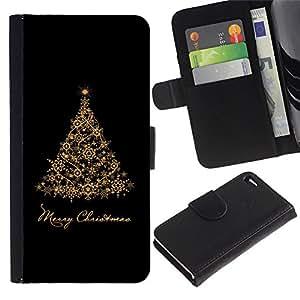 KingStore / Leather Etui en cuir / Apple Iphone 4 / 4S / Vacaciones de Navidad Árbol Negro Oro;