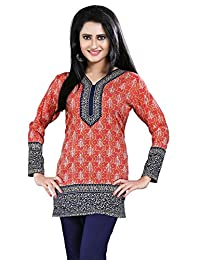 Maple Clothing Printed Long Sleeve Indian Kurti Top Tunic Womens Blouse