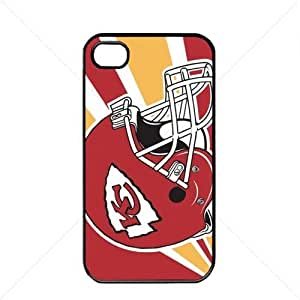 NFL American football Kansas City Chiefs Fans Case For Iphone 4/4S Cover PC Soft (Black)