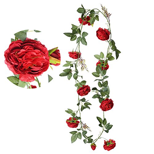 Felice Arts 5.9Ft Fake Peony Vine Garland Artificial Flower Plants Green Leaf Hanging Vine Garland for Wedding Party Home Garden Wall Decoration-Red ...