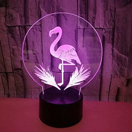 HPBN8 Optical Illusion 3D Flamingo Night Light USB Power Touch Switch LED Decor Table Desk Lamps 7 Colors Changing Lights Xmas Brithday Children Kids Toy