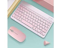 Conjunto Teclado E Mouse Bluetooth Portátil 10 Polegadas - Rosa