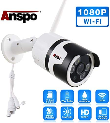 Outdoor Security Cameras Wireless – 1080p HD WiFi Bullet Surveillance IP Camera, IP66 Waterproof, Motion Detection, 2-Way Audio, Night Vision, Activity Alert Cam with Adapter – iOS Android