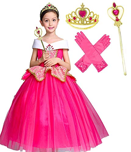 Romy's Collection Elegant Aurora Pink Party Princess Dress Costume (4-5, Pink) -