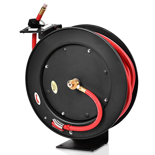 Goplus Retractable Air Hose Reel, Wall Mount Auto Rewind Hose-Reel, Heavy Duty Steel Construction, Industrial Grade, Max.300 PSI (3/8' x 50' Hose, Black)
