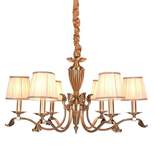 Fabric Chandelier Shade (Fabric Shade Brass Copper Chandelier - Battaa DTN8016 (2018 New Design) Nordic Style Pendant Lighting Antique 6 lights Vintage Ceiling Hanging Loft Lamp LED For Living Girls Bed Room 2-Year Warranty)
