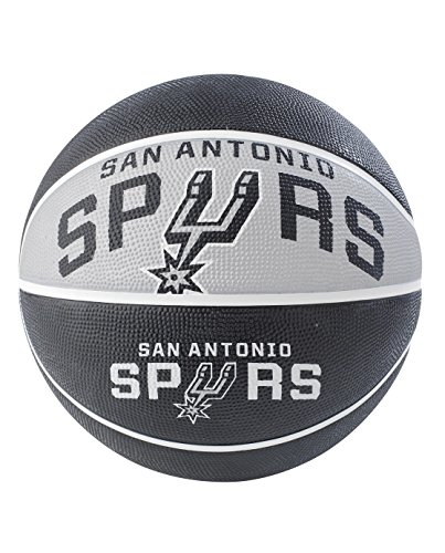 NBA San Antonio Spurs NBA Courtside Team Outdoor Rubber Basketballteam Logo, Black, 29.5'' by Spalding