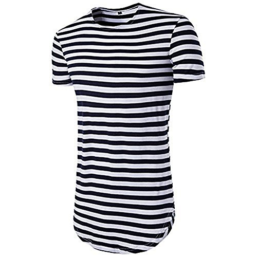 LIWEIKE Men's Striped Hip Hop Basic Longline Crewneck T-Shirt (X-Large, Black&White Striped) -