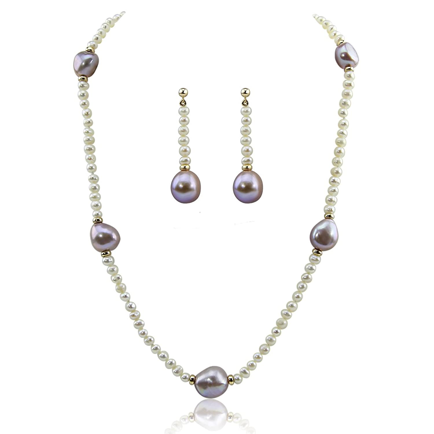 """14k Yellow Gold 11-13mm Lavender, 4-5mm White Baroque Freshwater Cultured Pearl Necklace 20"""", earring set"""