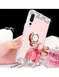 Mirror Case for Huawei P20 Pro,Girlyard Luxury Crystal Rhinestone Soft TPU Rose Gold Bumper Case Bling Glitter Makeup Mirror Back Case with Rotating Ring Stand Holder for Huawei P20 Pro