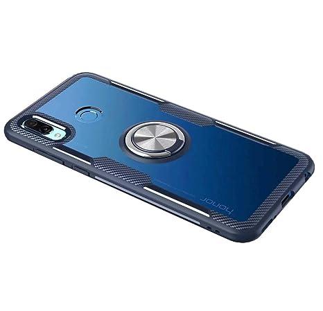 FANFO Funda Huawei Honor 8X con Montaje en Coche, Rugged TPU/Transparente PC Hybrid Carcasa y 360°Rotación Kickstand 3 en 1. Azul