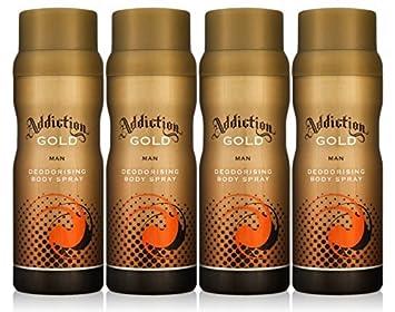Addiction Gold Men Deodorant Body Spray Fragrance 150ml 4 Pack