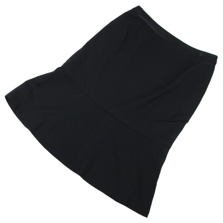 CHANEL(シャネル) スカート ココマーク ブラック ウール シルク ポリウレタン サイズ36 04A 2004年 レディース 中古 黒 裾フレア Aライン 膝丈 CHANEL [並行輸入品] B07DWLCVLJ  -