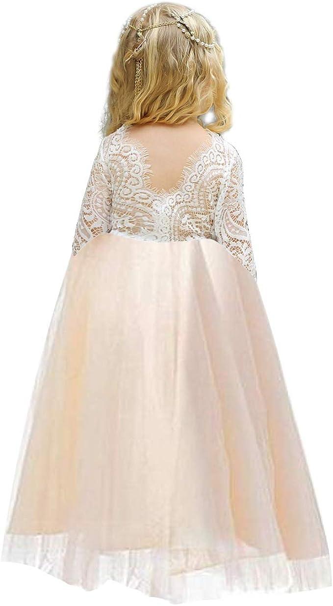 Amazon.com: Vestido de encaje para niña de 2 a 12 años con ...