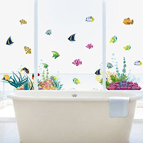 Amaonm-Removable-DIY-Under-the-Sea-Wall-Decals-  sc 1 st  Elite Aquariums & Amaonm Removable DIY Under the Sea Wall Decals Blue Grass and Fish ...