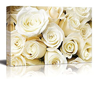 Canvas Prints Wall Art - Romantic White Color Cream Roses | Modern Wall Decor/Home Art Stretched Gallery Wraps Giclee Print & Wood Framed. Ready to Hang - 24