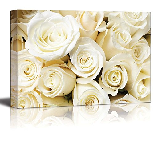Canvas Prints Wall Art - Romantic White Color Cream Roses | Modern Wall Decor/ Home Decor Stretched Gallery Wraps Giclee Print & Wood Framed. Ready to Hang - 24