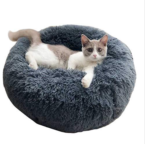 ALLNEO Original Cat and Dog Bed Luxury Shag Fuax Fur Donut Cuddler Round Donut Dog Beds Indoor Pillow Cuddler for Medium Small Dogs (M-24248inch, -