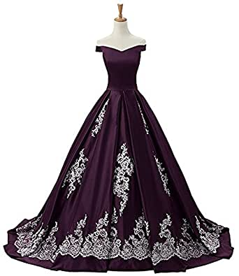 Jie'sdress Wemen's Satin Off Shoulder Applique Ball Gown Evening Dress