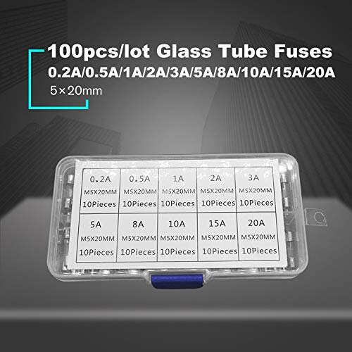 145 * 85 * 45MM, Transparent qingtang37 100PCS 5x20mm Fast Blow Fuse Glass Tube Fuse Assorted Mixed Kit Insurance Tube 0.2A//0.5A//1A//2A//3A//5A//8A//10A//15A//20A 145 * 85 * 45MM, Transparent