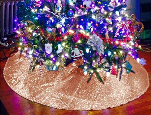 Tree Skirts for Slim Trees 18 Inch Christmas Tree Skirt Rose Gold Sequin Tree Skirt~M1107