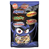 Mars Halloween Candy Bat Bag (450 ct.) Snack Size, Bulk Assortement of Snickers Bars, Milky Way Bars, 3 Musketeers Bars, Starburst and Twix Bars - (8 LB)