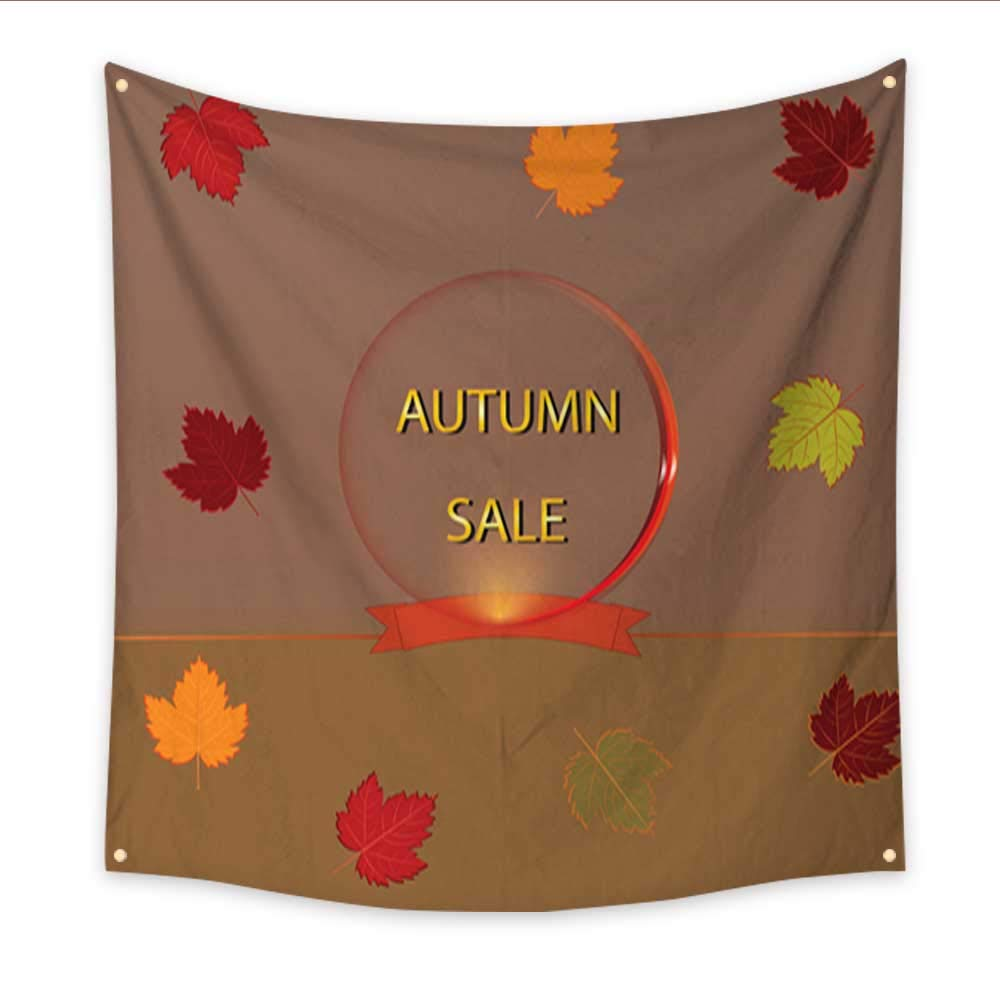 Tapestry for Men Banner Autumn Sale Falling Maple Leaves Art Abstract Creative Illustration Vector Bedroom Living Room Dorm 70W x 70L Inch