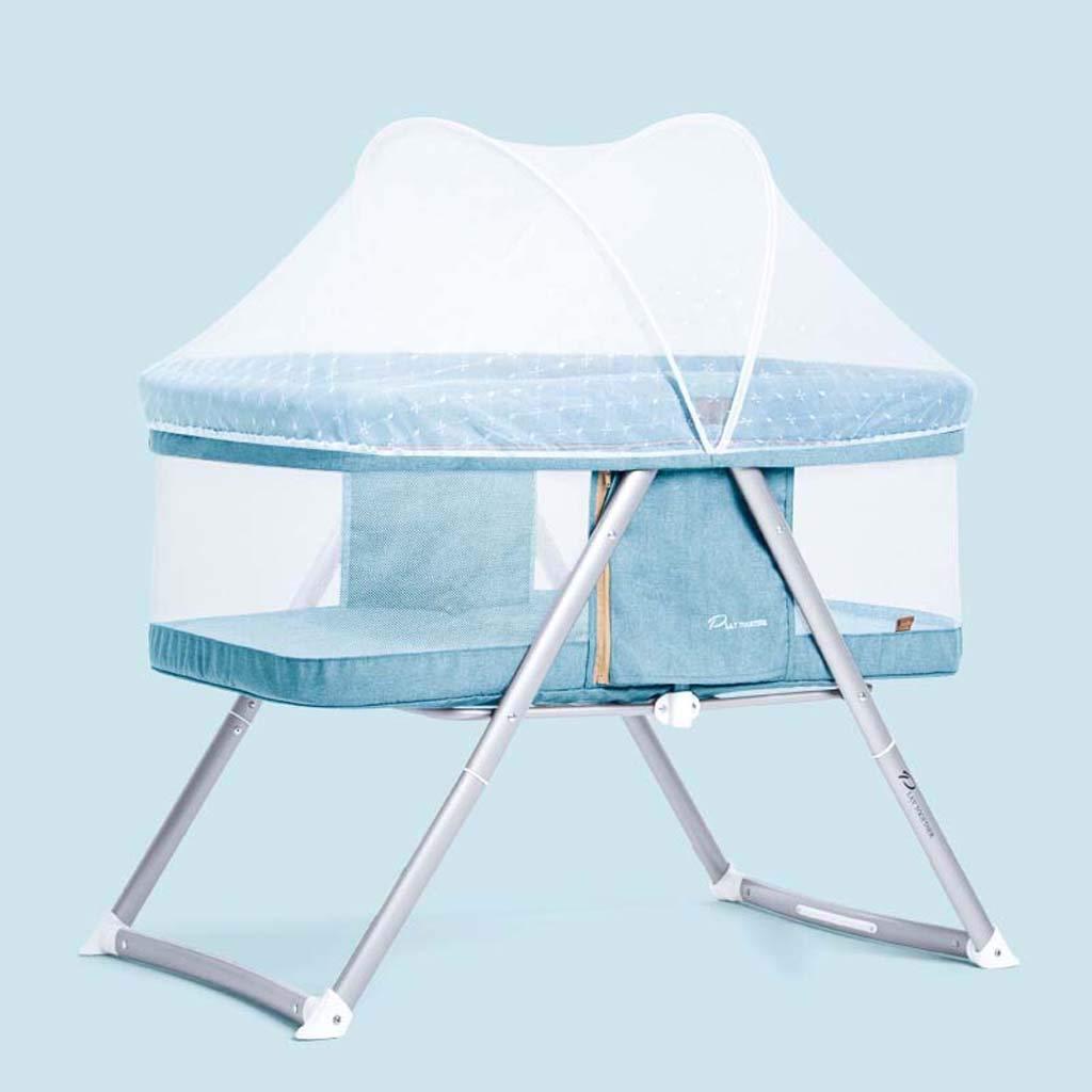 シュウクラブ@ ポータブルベビーベッド、多機能新生児ベビーシェーカー、折り畳み式ベビーベッドベッド、ポリマーアルミナホルダー、ベビーベッド+スタンド+モスキートネット、荷重15 Kg (色 : Ice blue)  Ice blue B07DCNDKM2