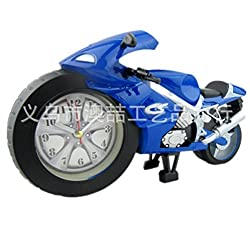Ys High-grade Creative Classical Desk Decoration Children Gifts the Fashion Cool Modern Motorcycle Model Alarm Clock Boutique (Blue)