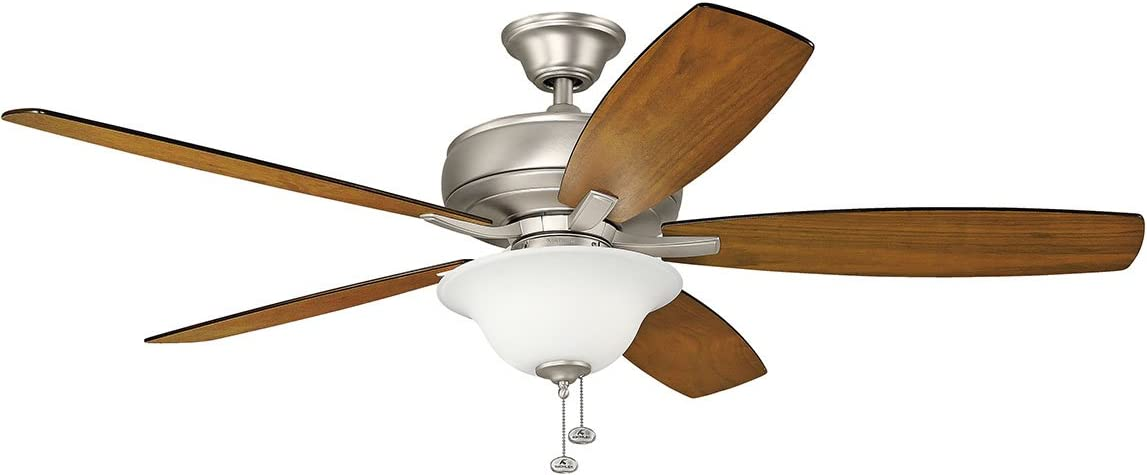 KICHLER 330250NI Protruding Mount, 5 Silver Blades Ceiling fan with 74 watts light, SILVER