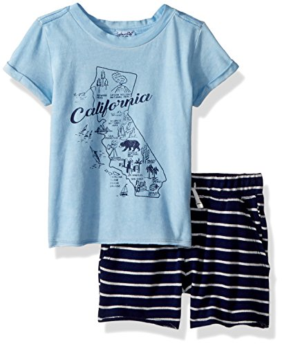 - Splendid Boys' Kids and Baby Sleeve Tee and Short 2 Piece Set, Sky Blue 3/6