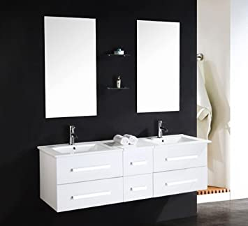LUXUS4HOME Design Doppel Badmöbel Set U201eSerpia Dualu201c Weiß Waschtisch Set  150cm Inkl. 2