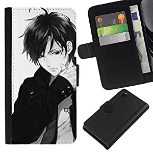 Leather Etui en cuir    Sony Xperia Z3 D6603    Individuo Bow Anime japonés tipo blanco @XPTECH