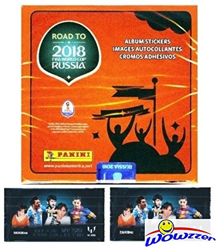 2018 Panini Road to FIFA World Cup Russia MASSIVE 50 Pack Factory Sealed Sticker Box with 350 Stickers Plus BONUS (2) LIONEL MESSI Card Packs! Look for Top Stars Ronaldo, Messi,Neymar & More! WOWZZER! (Box Bonus Pack)