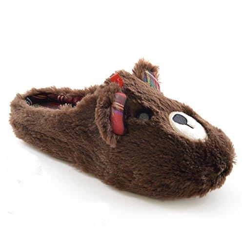 Universaltextilien Damen Hausschuhe/Pantoffeln IM Tier-Design mit Karo-Einsatz Braun