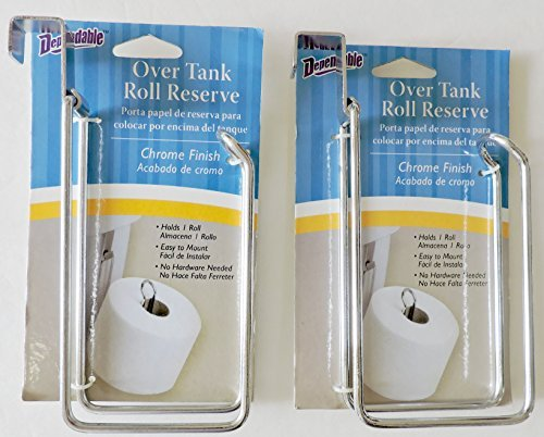 2 Pack Over the Tank Toilet Paper Roll Reserve by DINY Home & Style