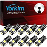 Yorkim 194 LED Bulbs Xenon White 6000k Super Bright 5th Generation, T10 LED Bulbs, 168 LED Bulb for Car Interior Dome Map Door Courtesy License Plate Lights W5W 2825, Pack of 10