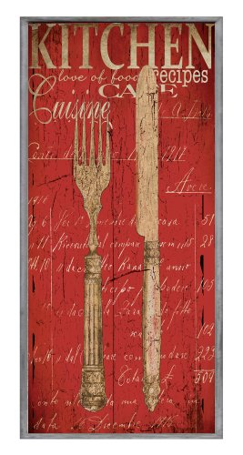 The Stupell Home Decor Collection Decor Collection Kitchen Fork and Knife Red Typography Wall Plaque