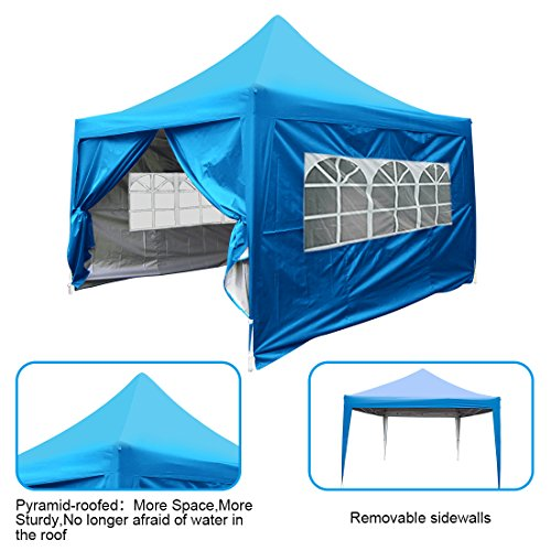 Quictent Upgraded 10×10 EZ Pop up Canopy Tent Instant Outdoor Canopy with Sides Wheeled Bag Waterproof Light Blue