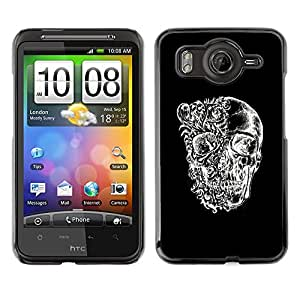 Shell-Star Art & Design plastique dur Coque de protection rigide pour Cas Case pour HTC Desire HD / G10 / inspire 4G( Skull Black White Floral Deep Meaning )