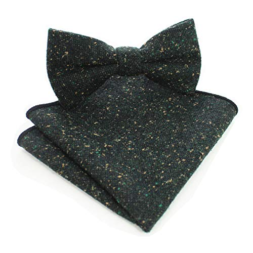 JEMYGINS Mens Green Cotton Wool Bowtie Pre-tied Cashmere Bow Tie and Pocket Square Set (3)