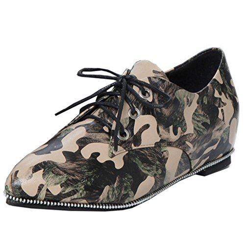 TAOFFEN Women Casual Mixed Colors Lace Up Flat Height Increased Court Shoes Green KEsDGX55JM
