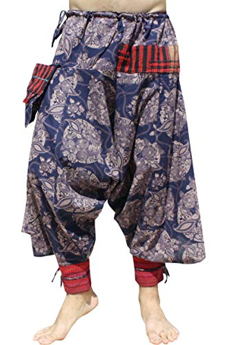 RaanPahMuang Japanese Formal Edo Courtesan Pants with Tied Cuffs and Woven Patches, Medium, Flower - Dark -