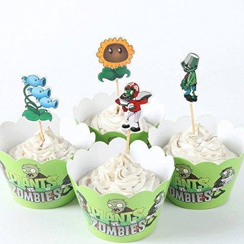 24pc Plants Vs Zombies Garden Warfare Cupcake Toppers & Wrappers birthday party favor Birthday, Halloween Party Favors,Cake Decoration Supplies, Serve 12.