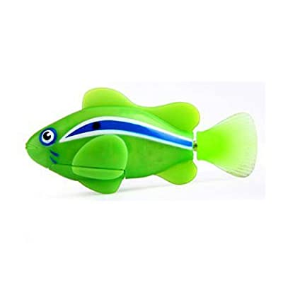 Zuru Robo Fish Water Activated Swimming Mechanism Clown Shark Pet Fish (Green Clown): Toys & Games